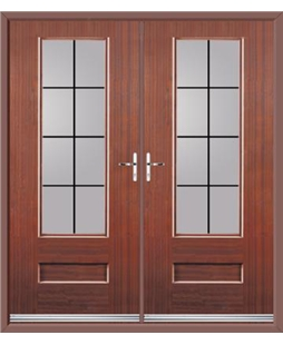 Vogue French Rockdoor in Mahogany with Square Lead