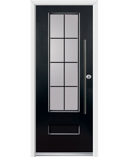 Ultimate Vogue Rockdoor in Onyx Black with Square Lead and Bar Handle