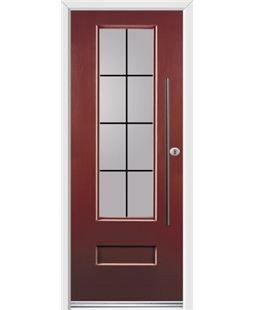 Ultimate Vogue Rockdoor in Ruby Red with Square Lead and Bar Handle