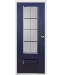 Ultimate Vogue Rockdoor in Sapphire Blue with Square Lead and Bar Handle