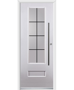Ultimate Vogue Rockdoor in White with Square Lead and Bar Handle