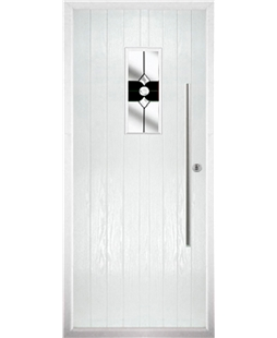 The Zetland Composite Door in White with Black Crystal Bohemia