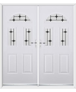 Tennessee French Rockdoor in White with Diamond Lead