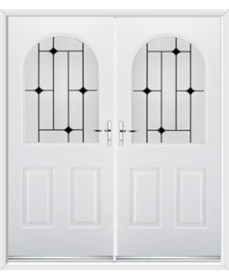 Kentucky French Rockdoor in White with Black Diamonds