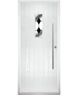 The Zetland Composite Door in White with Black Diamonds