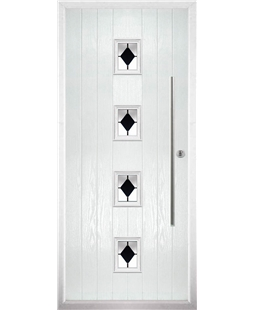 The Leicester Composite Door in White with Black Diamonds
