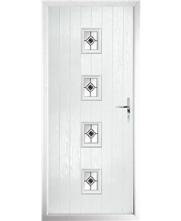 The Uttoxeter Composite Door in White with Black Fusion Ellipse