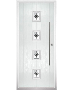 The Leicester Composite Door in White with Black Fusion Ellipse