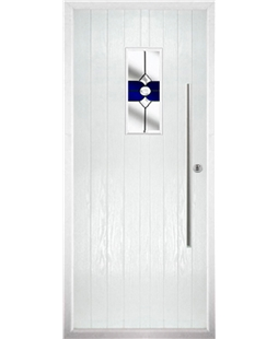 The Zetland Composite Door in White with Blue Crystal Bohemia