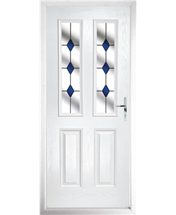 The Cardiff Composite Door in White with Blue Diamonds