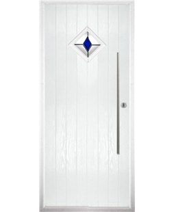 The Wolverhampton Composite Door in White with Blue Diamonds