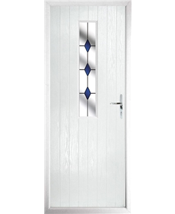 The Sheffield Composite Door in White with Blue Diamonds