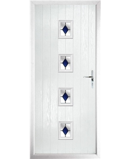 The Uttoxeter Composite Door in White with Blue Diamonds