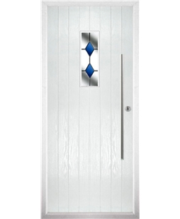The Zetland Composite Door in White with Blue Diamonds