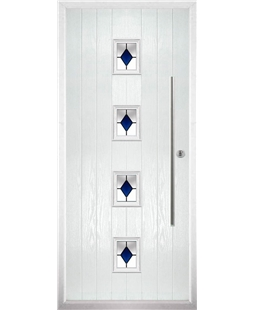 The Leicester Composite Door in White with Blue Diamonds