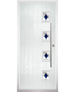 The Norwich Composite Door in White with Blue Diamonds