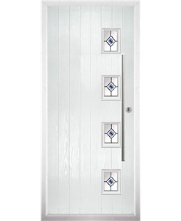 The Norwich Composite Door in White with Blue Fusion Ellipse