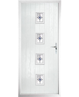 The Uttoxeter Composite Door in White with Blue Fusion Ellipse