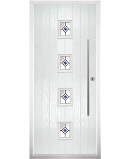 The Leicester Composite Door in White with Blue Fusion Ellipse