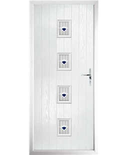The Uttoxeter Composite Door in White with Blue Murano