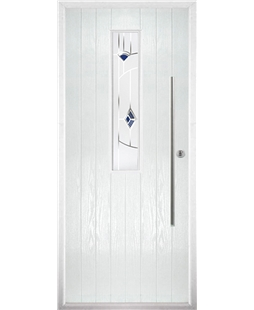 The York Composite Door in White with Blue Murano