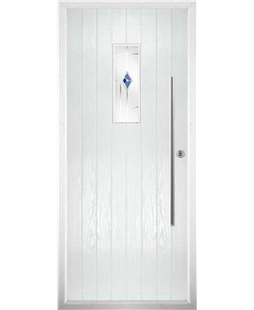 The Zetland Composite Door in White with Blue Murano
