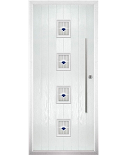 The Leicester Composite Door in White with Blue Murano
