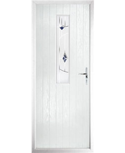 The Sheffield Composite Door in White with Blue Murano