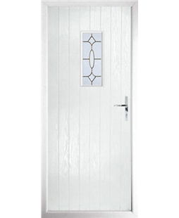 The Taunton Composite Door in White with Brass Art Clarity