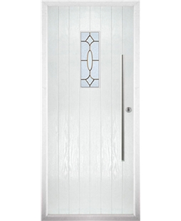 The Zetland Composite Door in White with Brass Art Clarity