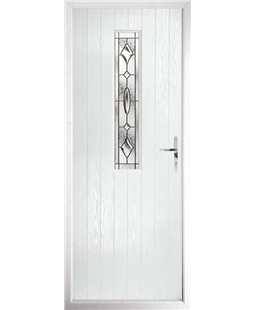The Sheffield Composite Door in White with Brass Art Clarity