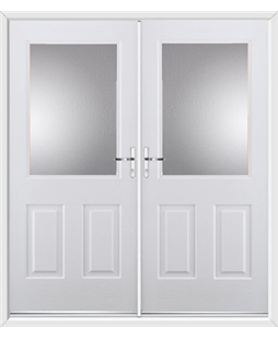Windsor French Rockdoor in White with Glazing