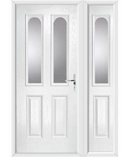 The Aberdeen Composite Door in White with Glazing and matching Side Panel