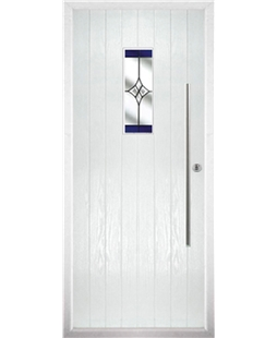 The Zetland Composite Door in White with Blue Crystal Harmony