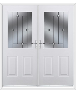 Windsor French Rockdoor in White with Crystal Bevel