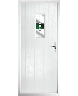 The Taunton Composite Door in White with Green Crystal Bohemia