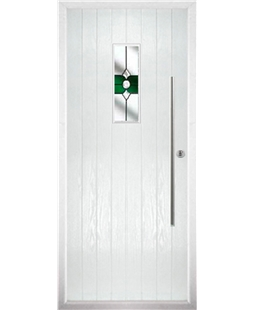The Zetland Composite Door in White with Green Crystal Bohemia