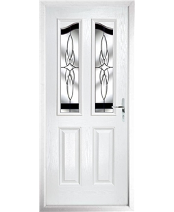 The Birmingham Composite Door in White with Black Crystal Harmony