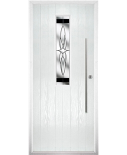 The York Composite Door in White with Black Crystal Harmony
