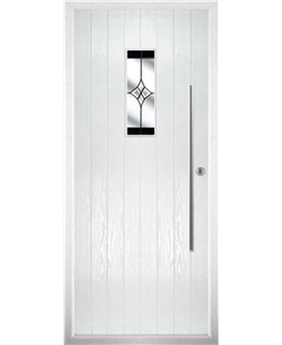 The Zetland Composite Door in White with Black Crystal Harmony