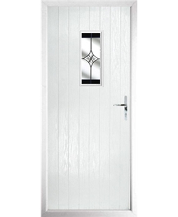 The Taunton Composite Door in White with Black Crystal Harmony