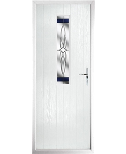 The Sheffield Composite Door in White with Blue Crystal Harmony