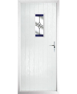 The Taunton Composite Door in White with Blue Crystal Harmony