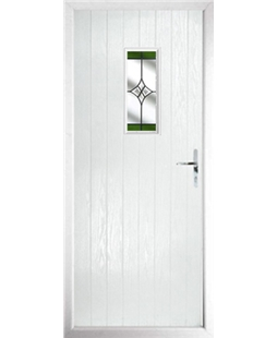The Taunton Composite Door in White with Green Crystal Harmony