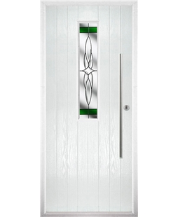 The York Composite Door in White with Green Crystal Harmony