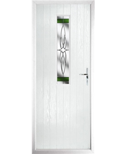 The Sheffield Composite Door in White with Green Crystal Harmony