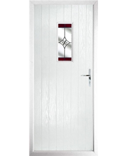 The Taunton Composite Door in White with Red Crystal Harmony