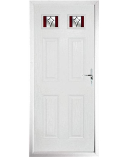 The Ipswich Composite Door in White with Red Crystal Harmony