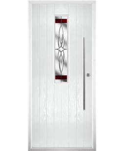The York Composite Door in White with Red Crystal Harmony