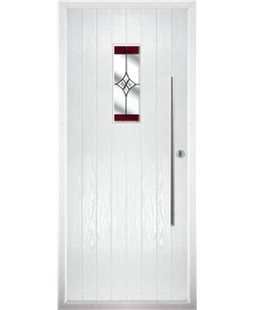 The Zetland Composite Door in White with Red Crystal Harmony